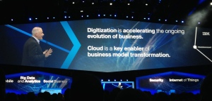 Robert Leblanc, SVP IBM Cloud, opened the first general session of the conference. (Source: Anastasia Medytska)